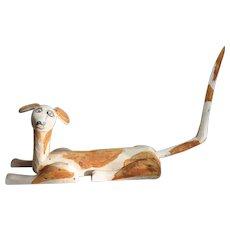 "Vintage Oaxaca Mexican folk art wood carving large dog 15"""