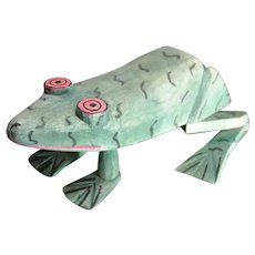 Vintage Oaxaca wood carving Frog.