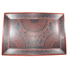 """Large vintage Mexico Olinala incised lacquered folk art tray with cats birds 21"""""""