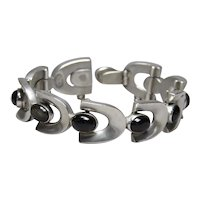 J. Veles Taxco 970 Silver Obsidian Horseshoe Mexican Bracelet