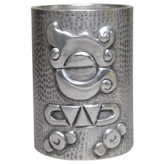 TANE Mexican Mayan sterling silver beaker pot hammered design