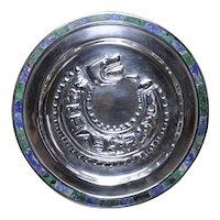 Arte de Plata Jacopo Taxco Maya Quetzalcoatl sterling silver wall plate