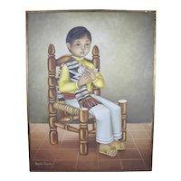 Alejandro Camarena (Mexico 1942-2011) Portrait of a seated boy holding a dove.