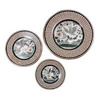 Set of three wall plates Jose Bernabe Tonala Mexican folk art