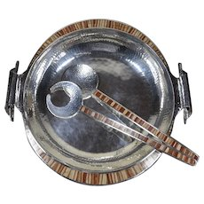 """Emilia Castillo Taxco silver-plated centre piece bowl and servers - large 17"""""""