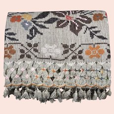 A wonderful vintage Mexican embroidered wool shawl