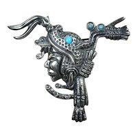 Marcel Boucher Parisina sterling silver Aztec brooch