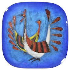 """Miguel Pineda Mexican enamel large wall plate or tray 11"""""""