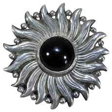 Hector Aguilar Taxco sterling silver onyx sun pin brooch
