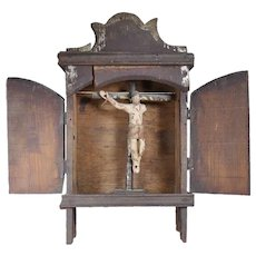Mexican folk art Nicho christ Cristo Santo cross retablo