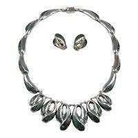 Enrique Ledesma vintage Taxco Mexican silver necklace and earrings set