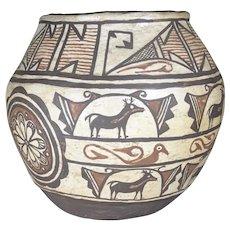 Zuni pueblo pottery heart line deer Olla jar.