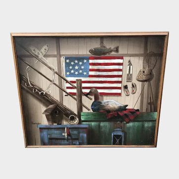 Americana Folk Art Painting By Huntington
