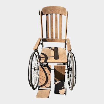 Antique Wooden & Steel Wheelchair