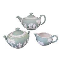 Wedgwood Dipped Green Jasper Tea Service - Teapot Milk Jug Sugar Bowl