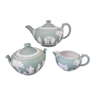Wedgwood Dipped Green Jasper Tea Service - Teapot Milk Jug Sugar Bowl