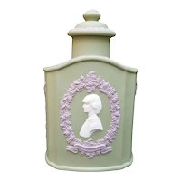Wedgwood Jasperware Tea Caddy - 3 Color Jasper - Royal Wedding Charles And Diana 1981