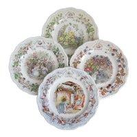 "Brambly Hedge Set Of Four Seasons 6"" Tea Plates  Spring, Summer, Autumn Winter"