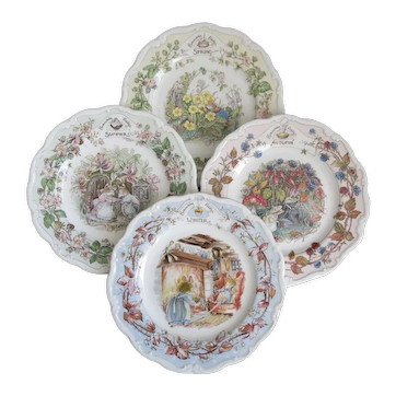 "Brambly Hedge Set Of Four Seasons 6"" Tea Plates  Spring, Summer, Autumn Winter"