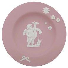 Rare Wedgwood Pink Jasperware Cupid Pin Dish Free Gift Box
