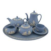 Miniature Jasperware Tea & Coffee Set  Wedgwood Blue Jasper  1st Quality