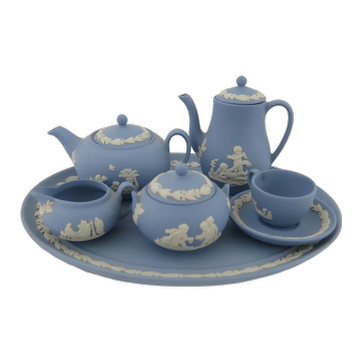 Miniature Jasperware Tea & Coffee Set  Wedgwood Blue Jasper  1st Quality