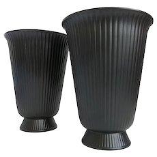 Wedgwood Ravenstone Vases 8 Inch Black Ribbed