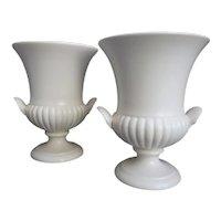 "Pair Of Wedgwood Moonstone Urn Vases 7""- Vintage Matte White - Made In England"