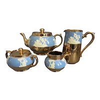 Blue Gold Tea Service By Gibsons w Full Size Teapot Milk Jug Sugar Bowl Water Jug - Made In England 1950s