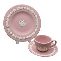 Wedgwood Pink Jasperware Miniature Cup Saucer & Plate Trio - First Quality