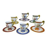 Set Of 6 Cup Duos Vienna Academy Of Fine Arts 300th Anniversary Cups And Saucers - Excellent