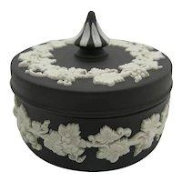 """Wedgwood Jasperware Black Basalt Round Trinket Box Spiked Knob Lid 3"""""""