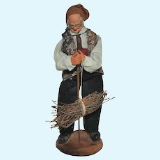 French Santon de Provence Collectible Figure, Man with Bundle of Wood
