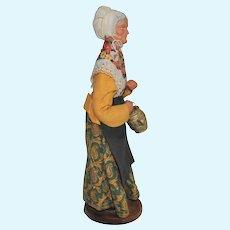 French Santon de Provence Collectible Figure, Woman Carrying Gold Pail
