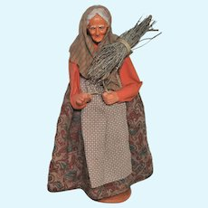 French Santon de Provence Collectible Figure, Woman Carrying Bundle of Wood
