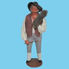 French Santon de Provence Collectible Figure, Tall Man Carrying Bundle of Wood