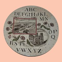 Antique ABC Child's Transferware Notre Dame Eating Plate from BP Co.