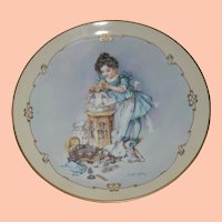 """Vintage """"Little Ladies"""" Porcelain Special Edition Plate, Hamilton Collection, """"Playing Mama"""""""
