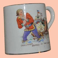 Vintage Child's Drinking Mug, Gulliver Brings in the Fleet, Gulliver's Travels