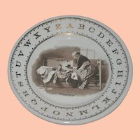 """Antique Porcelain Child's ABC Plate made by Harker for Hotel, """"Memories"""""""