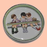 Vintage Noritake Child's Eating Dish, Three Children at Picnic