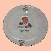 "Vintage Porcelain Child's Plate, ""MAMA"""
