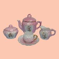 Vintage Pink Child's Size Porcelain Tea Set, Germany
