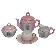 Vintage Pink Child's Size Porcelain Tea Set, Germany