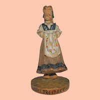 Vintage Norwegian Wooden Carving of Girl, Kari Trestakk
