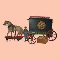 Rare Vintage Schoenhut Toy Co. Milk Wagon, Hood's Milk Co.