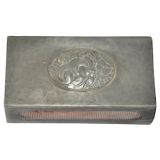 Vintage Danish Hammered Tin Art Nouveau Matchbox Holder