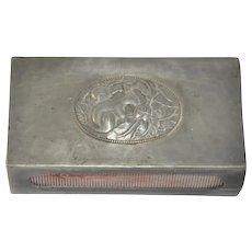 Vintage Danish Hammered Tin Art Nouveau Matchbox Holder