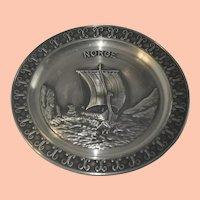 Vintage Norwegian Norge Pewter Decorative Plate