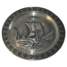 Vintage Norwegian Norge Pewter Decorative Plate